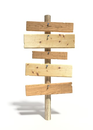 5 old wood signs on wooden pole, with llight shadow
