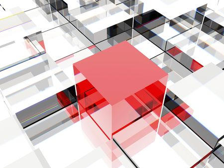 3d image of one red cube against other cubes, symbolizing leadership or different thinking