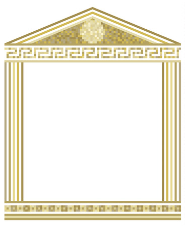 Illustration of Greek columns with mosaic on top