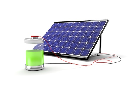 Big solar panel connected with wires to the battery and fills the battery with free power