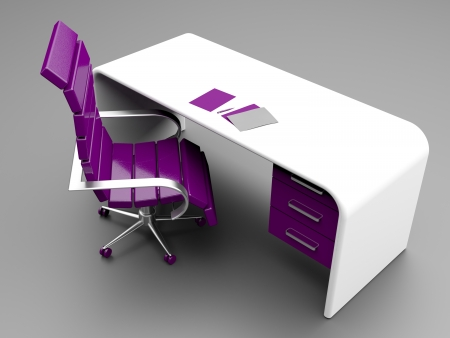 Photo pour Stylish workplace with purple chair and white desk with papers and pen on it - image libre de droit