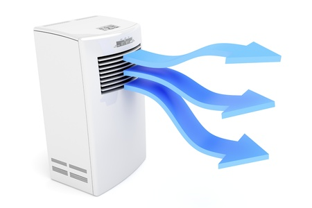 Air conditioner blowing cold air on white background