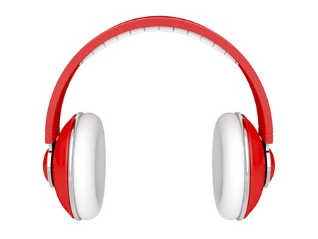 Red DJ headphones isolated on white