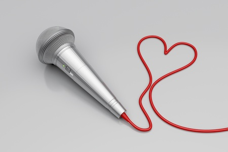 Music for love - concept image with microphone and heart shaped wire
