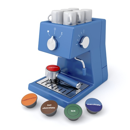 Photo for Blue coffee maker with coffee and tea capsules - Royalty Free Image