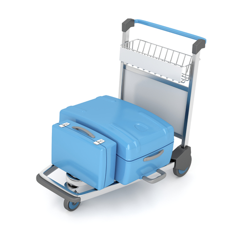 Airport trolley with blue suitcases on white