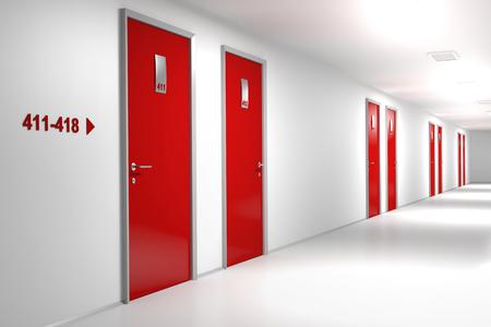 Hotel corridor with red doors