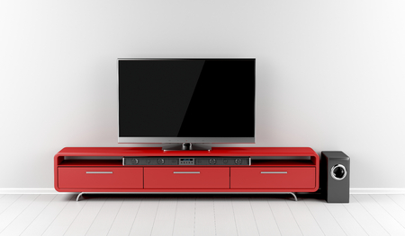 Tv with soundbar and subwoofer on tv stand