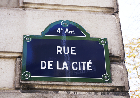 Rue de la Cite street sign in Paris, France