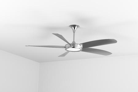Photo pour Silver ceiling fan with five blades - image libre de droit
