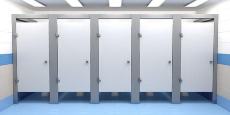 Photo pour Public toilet cubicles, front view - image libre de droit