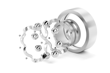 Photo pour Disassembled ball bearing on white background - image libre de droit