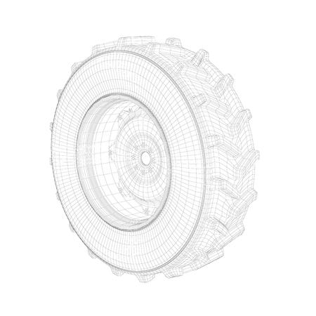 Photo pour 3D wire-frame model of tractor wheel on white background - image libre de droit