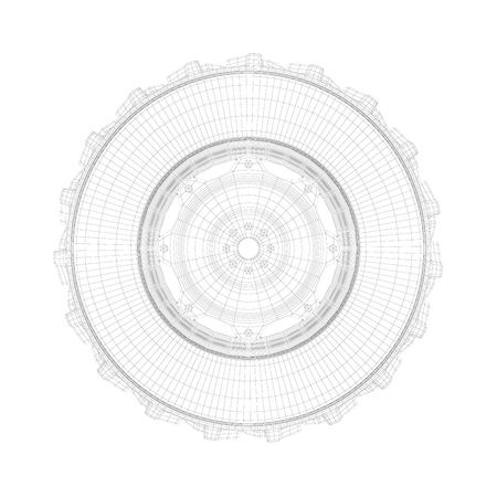 Photo pour 3D wire-frame model of tractor tire on white background - image libre de droit
