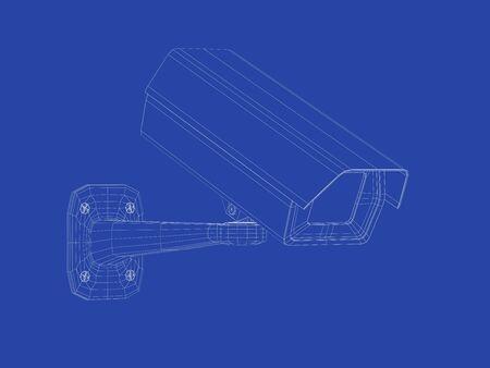 Photo pour 3d wire-frame model of security camera - image libre de droit