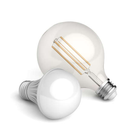 Photo for Two different LED light bulbs on white background - Royalty Free Image