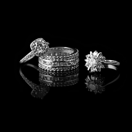 Photo for Luxury jewellery. White gold or silver rings with diamonds. Selective focus. - Royalty Free Image