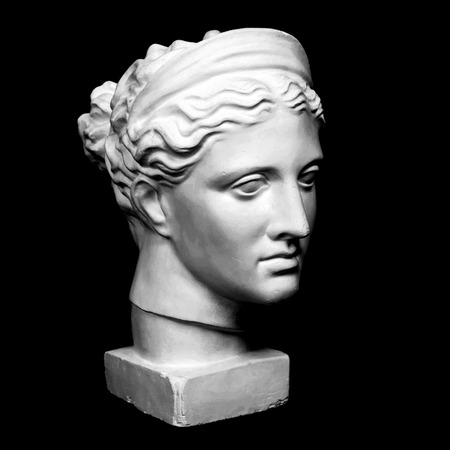 Photo for Marble head of young woman, ancient Greek goddess bust isolated on pink background with space for text. - Royalty Free Image