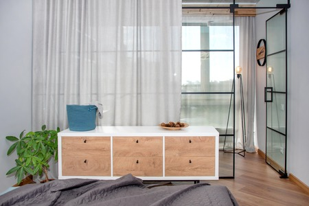 Photo for Trendy modern design with glass partition, minimalist modern bedroom interior. - Royalty Free Image