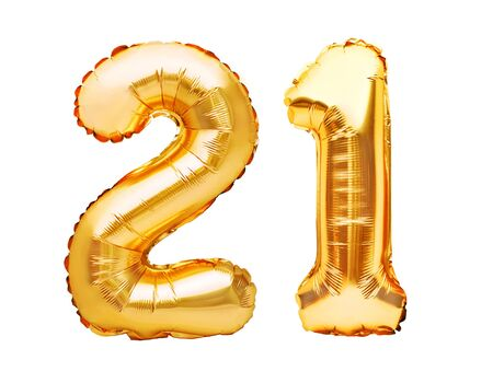 Photo pour Number 21 twenty one made of golden inflatable balloons isolated on white. Helium balloons, gold foil numbers. Party decoration, anniversary sign for holidays, celebration, birthday, carnival. - image libre de droit