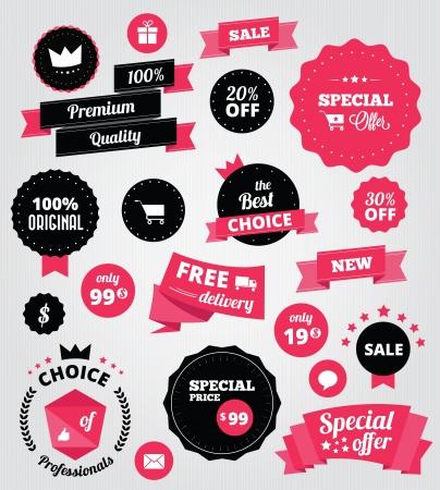 Illustration pour stickers and ribbons set red  - image libre de droit