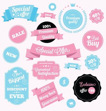 Illustration pour fashion shop stickers and ribbons - image libre de droit