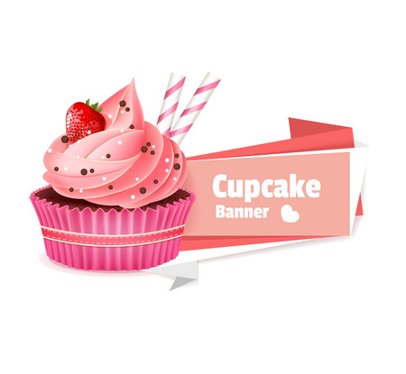 Pink cupcake vector banner