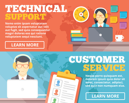 Technical support customer service flat illustration concepts set