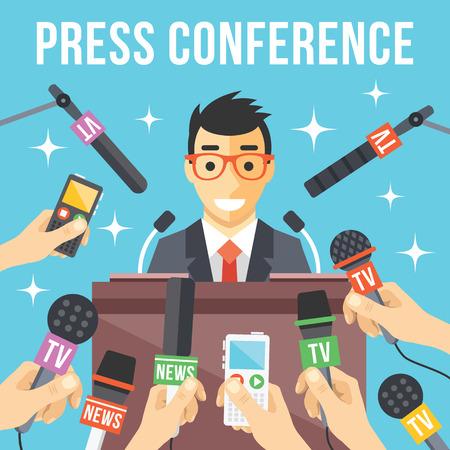 Press conference. Live report live news concept