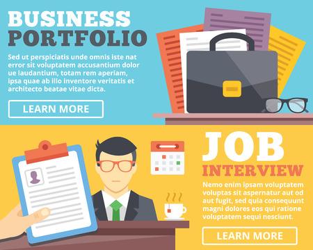 Illustration pour Business portfolio job interview flat illustration concepts set - image libre de droit