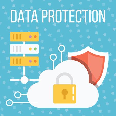 Data protection flat illustration