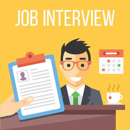 Illustration pour Job interview flat illustration - image libre de droit