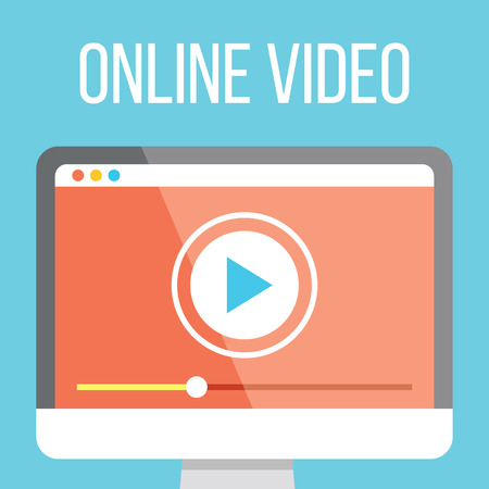 Online video flat illustration