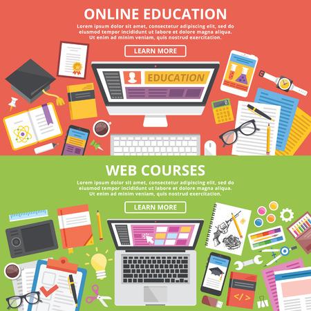 Illustration pour Online education, web courses flat illustration concepts set - image libre de droit