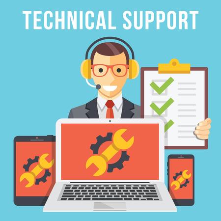 Illustration pour Technical support flat illustration concept - image libre de droit