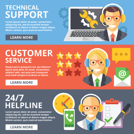 Technical support, customer service, 24 hours helpline flat illustration concepts set