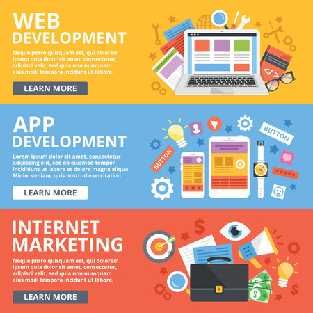 Illustration pour Web development, mobile apps development, internet marketing flat illustration concepts set - image libre de droit