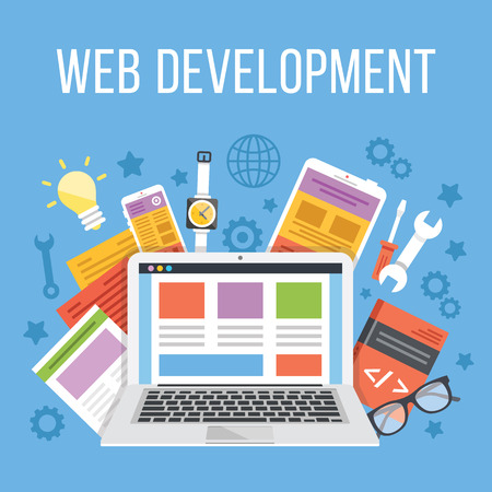 Ilustración de Web development flat illustration concept - Imagen libre de derechos