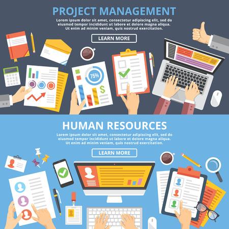 Illustration pour Project management, human resources flat illustration concepts set. Top view - image libre de droit