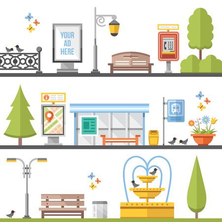 Illustration pour City elements, outdoor elements and city scenes flat illustrations set - image libre de droit