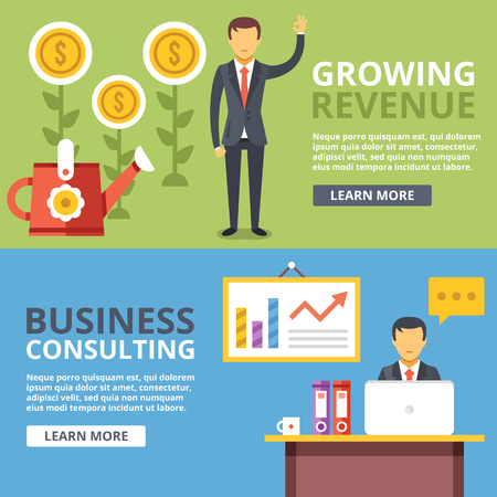 Growing revenue, business consulting flat illustration abstract concepts set