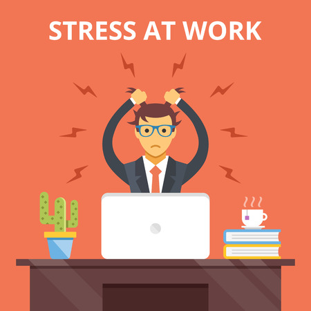 Stress at work. Stress situation concept. Vector flat illustration