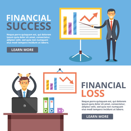 Financial success, financial loss flat illustration concepts set. Business situations