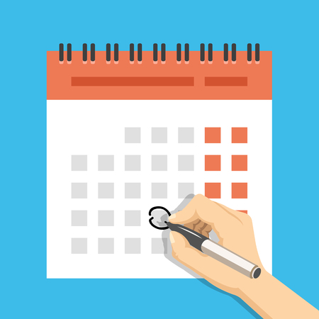 Hand with pen mark calendar. Important event concept. Modern flat design concepts for web banners, web sites, printed materials, infographics. Creative vector illustration