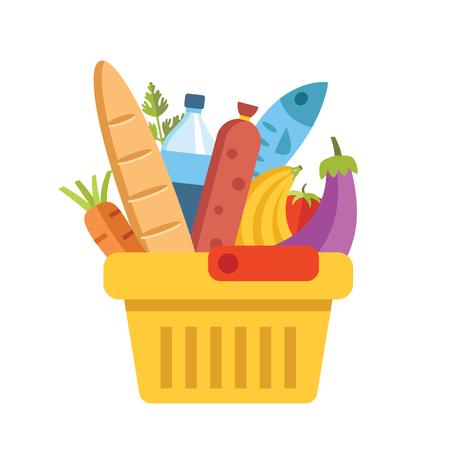 Vektor für Supermarket basket with food. Colorful modern flat design vector illustration - Lizenzfreies Bild