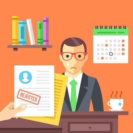 Illustration pour Job interview. Rejected job application with a stamp - image libre de droit