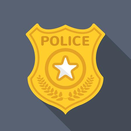 Illustration pour Police badge long shadow vector flat icon - image libre de droit