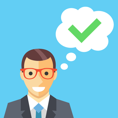 Happy man and thought bubble with checkmark flat illustration