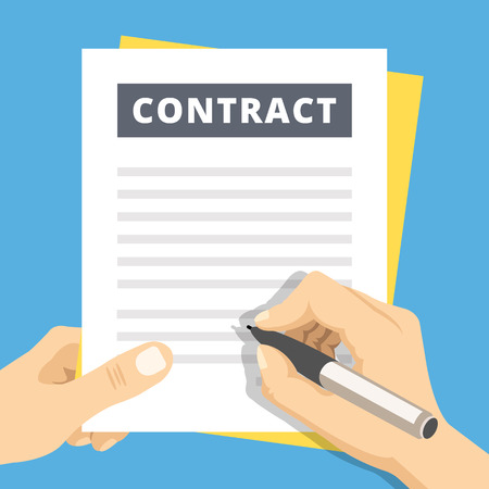 Illustration pour Signing a contract flat illustration. Hand with pen sign contract - image libre de droit
