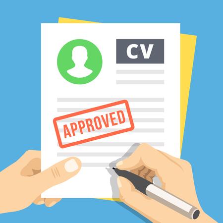 Illustration pour CV approved. Hand with pen sign a job application - image libre de droit